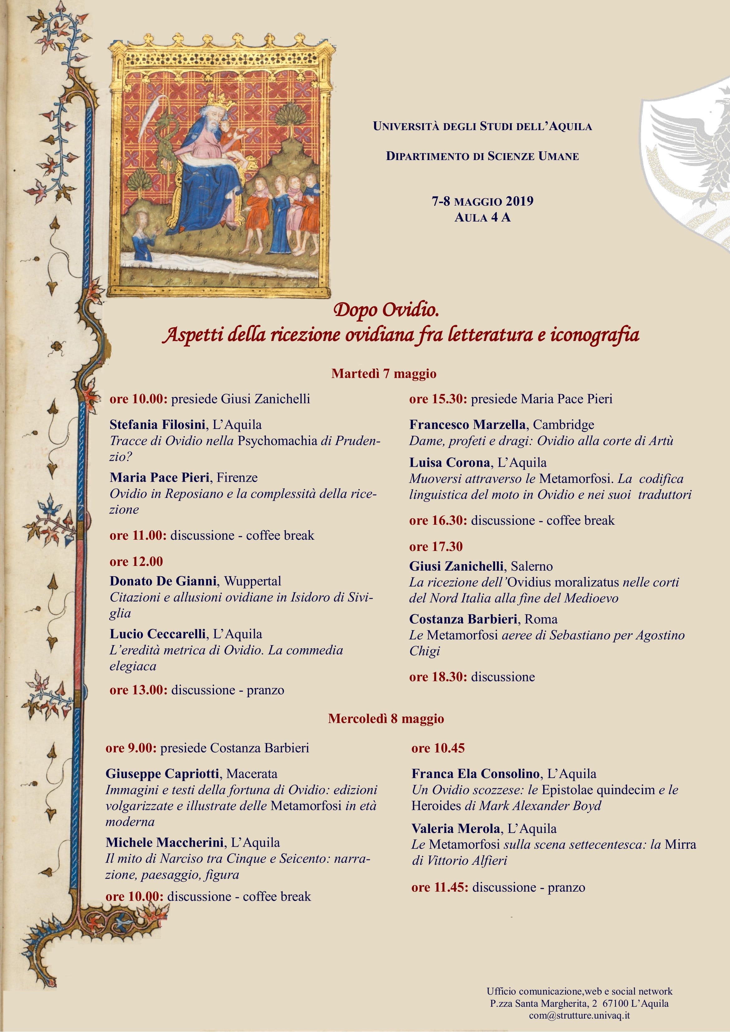 Convegno Dopo Ovidio. Aspetti della ricezione ovidiana fra letteratura e iconografia