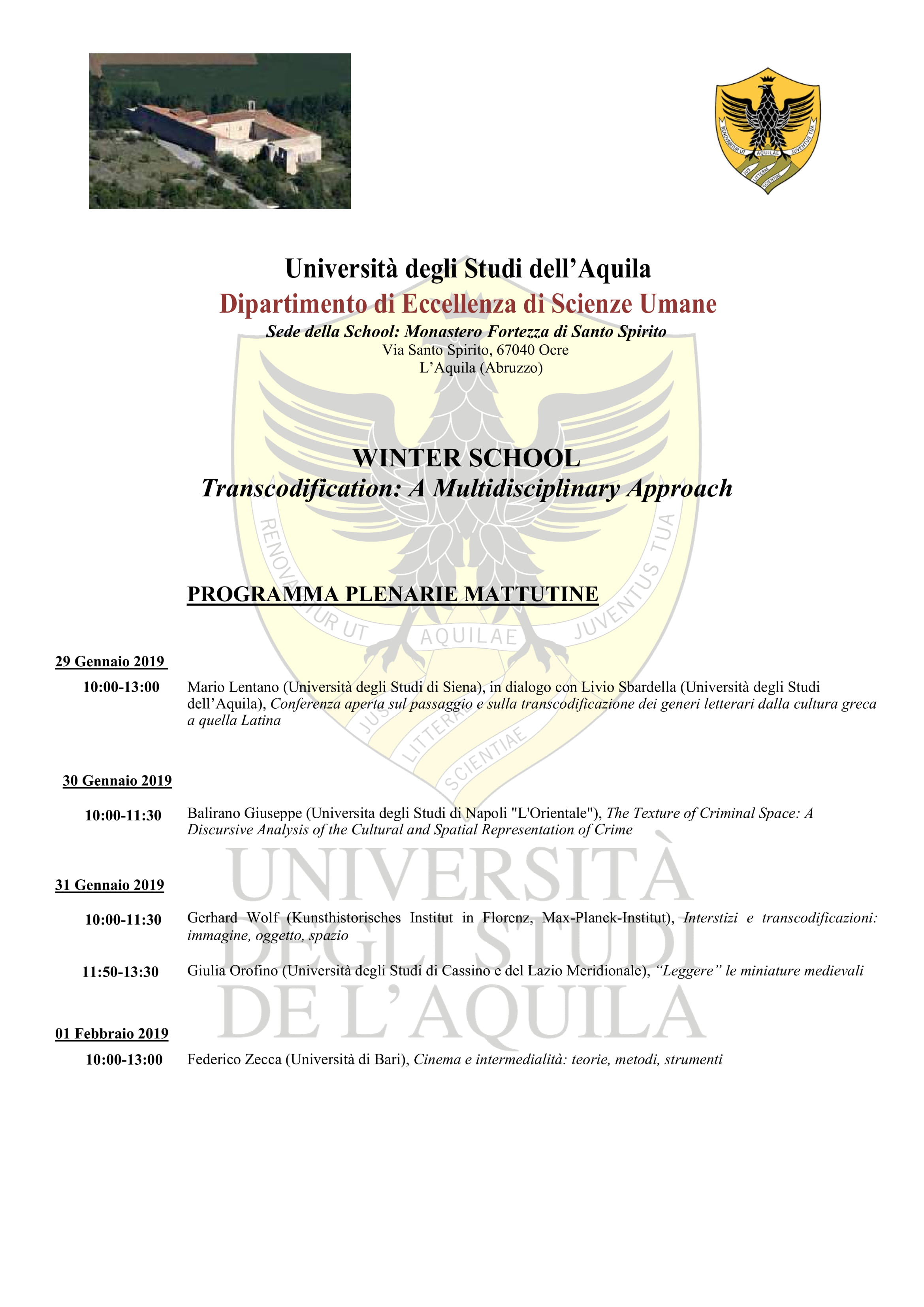 "Winter School ""Transcodification: A Multidisciplinary Approach"""