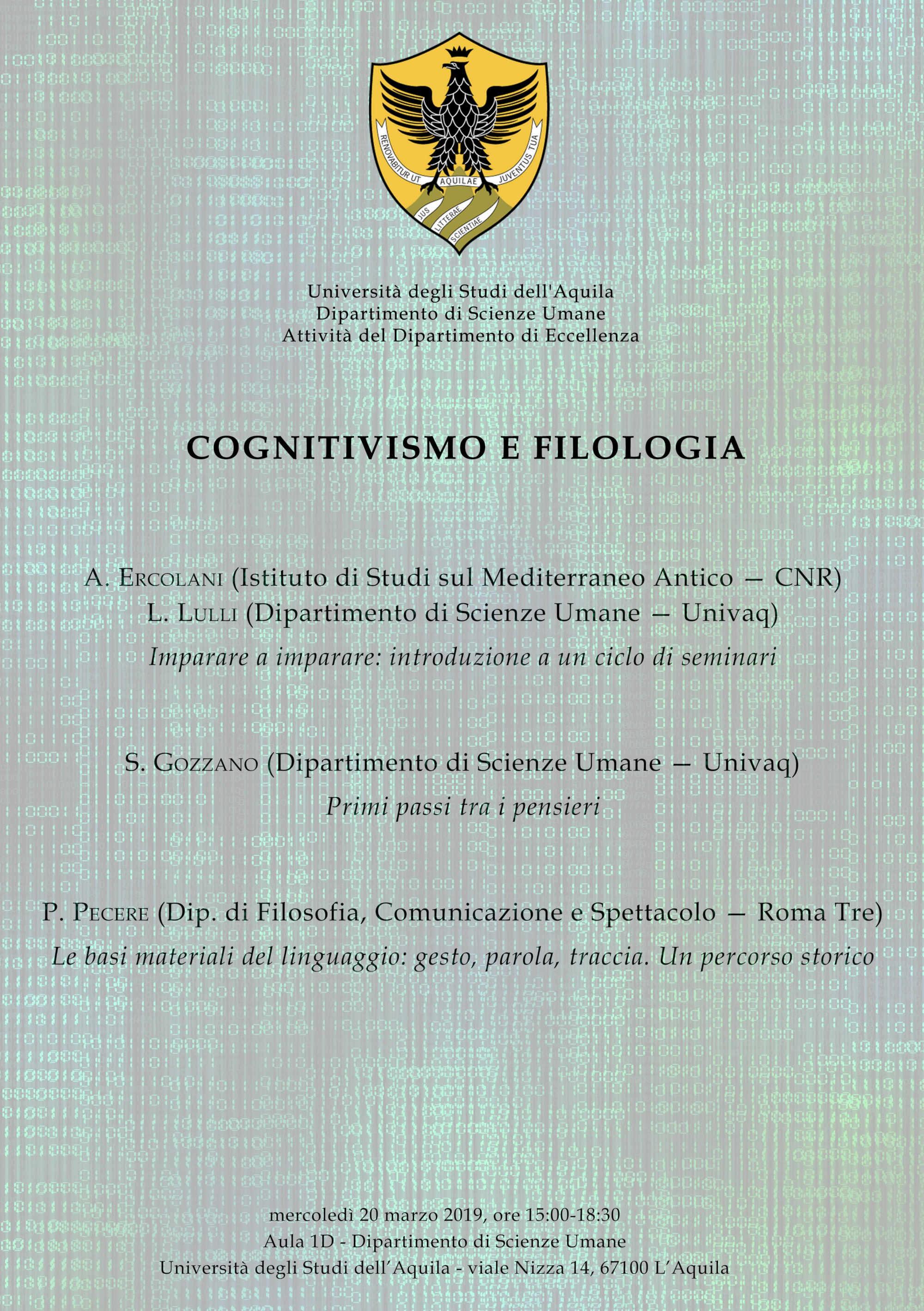 Convegno La visione del cognitivsmo sull'oralità – primo seminario sull'oralità