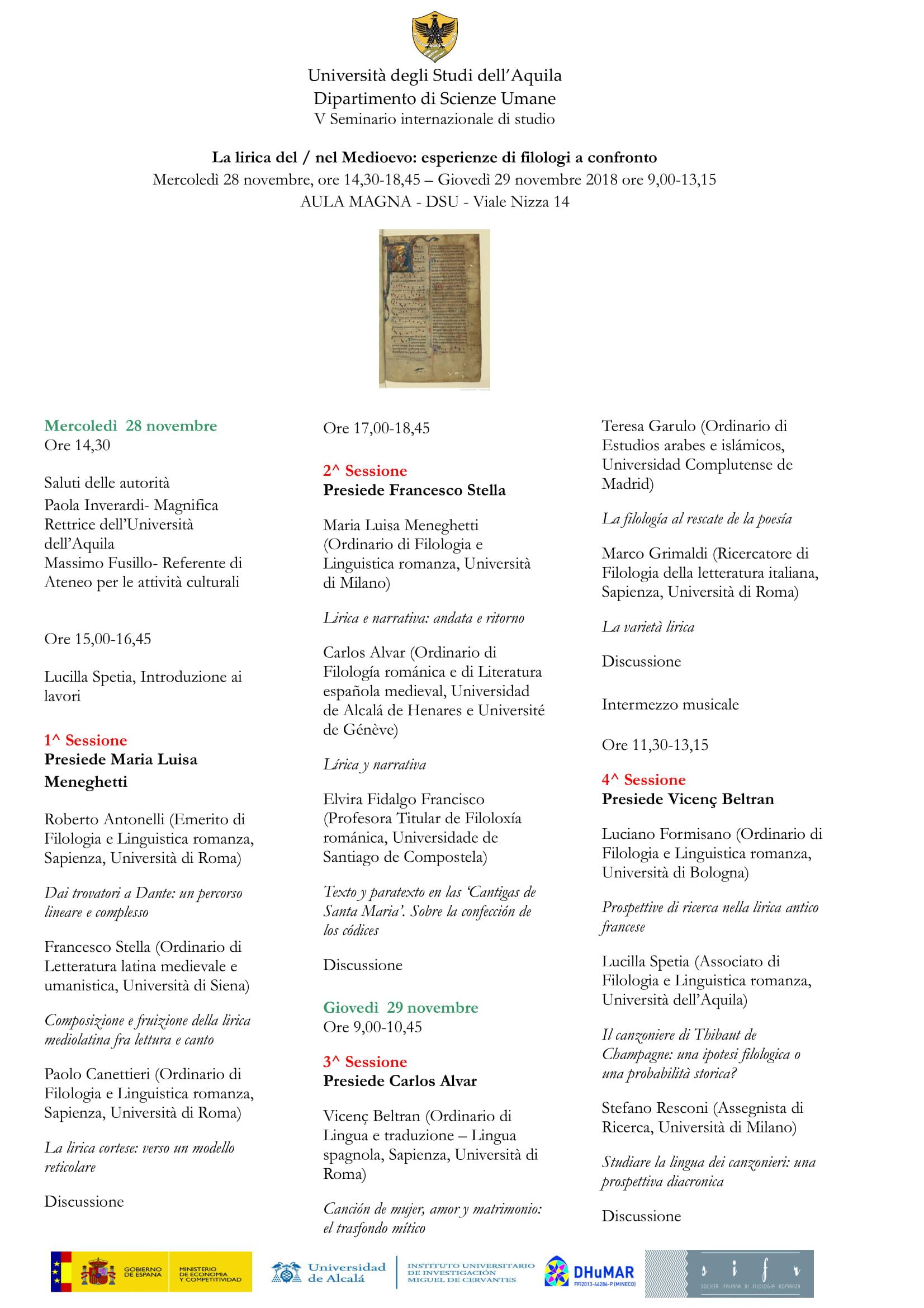 Convegno La lirica nel/del medioevo: esperienze di filologi a confronto