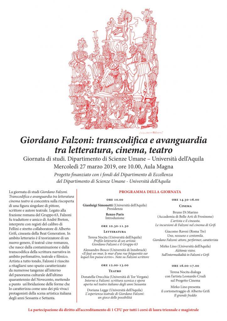 Convegno Giordano Falzoni: transcodifica e avanguardia tra letteratura, cinema, teatro.