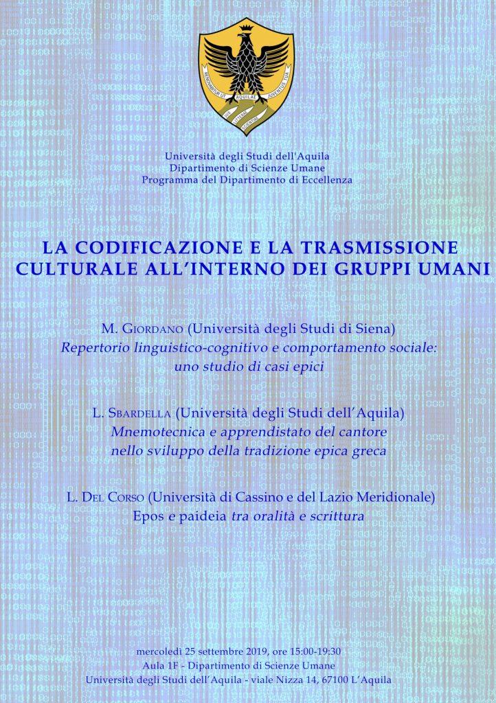Convegno La codificazione e la trasmissione culturale all'interno dei gruppi umani