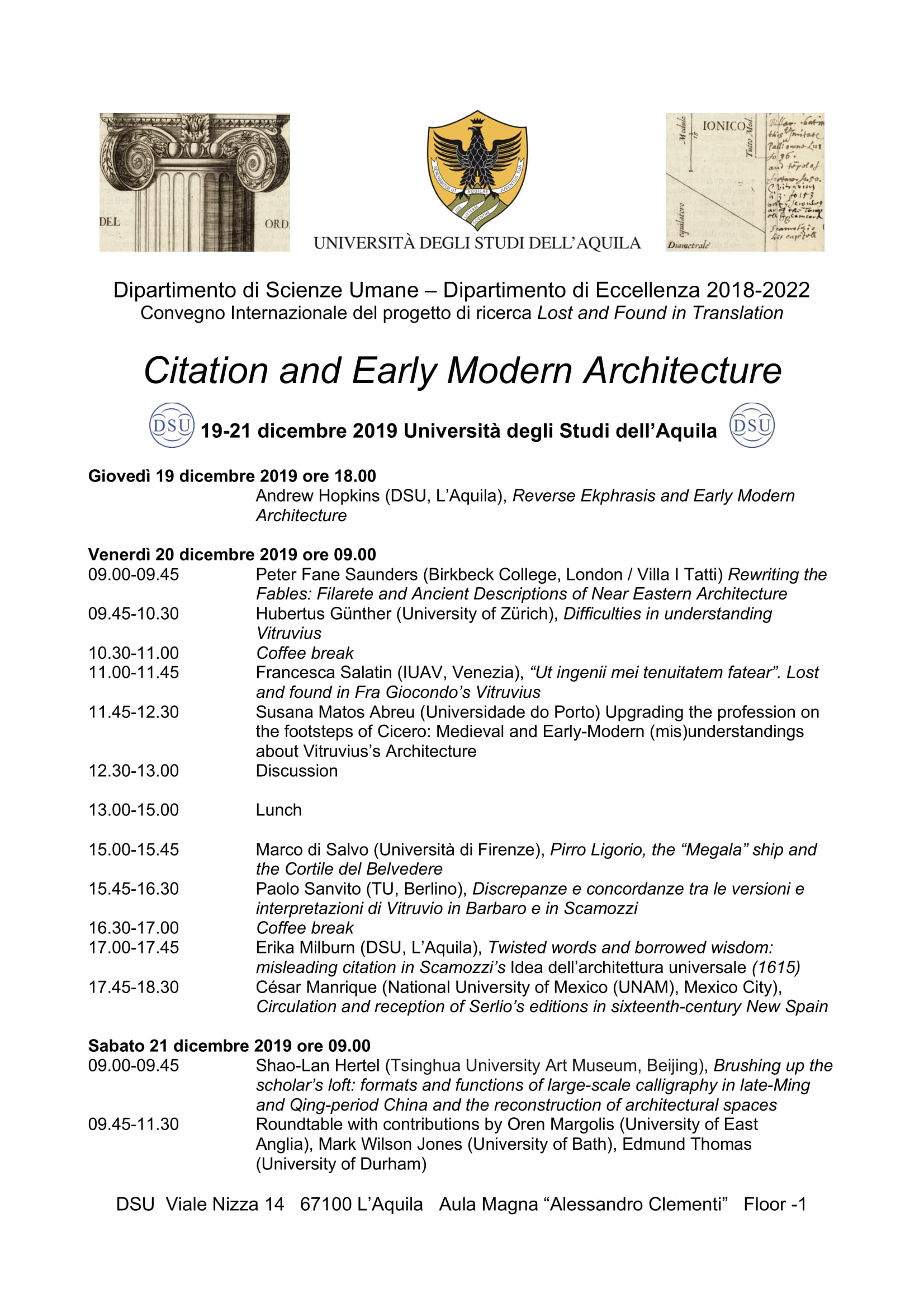 Convegno Citation and early modern architecture