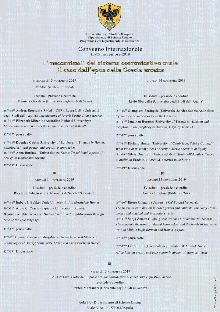Convegno internazionale I meccanismi del sistema comunicativo orale: il caso dell'epos nella Grecia arcaica