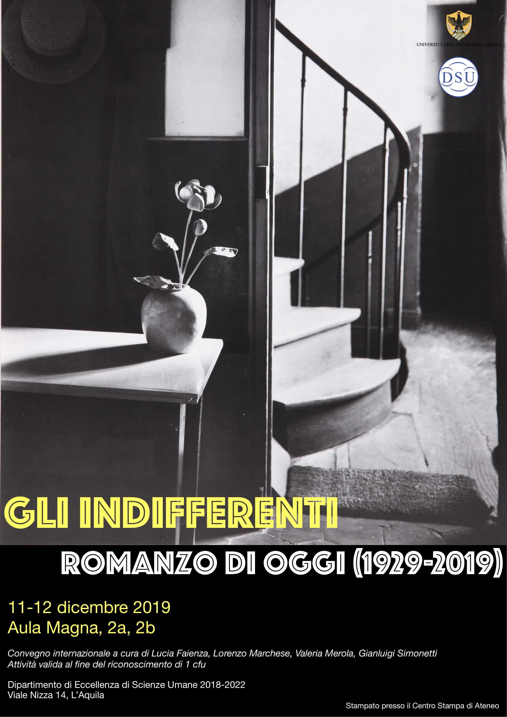 Convegno Gli indifferenti romanzo di oggi (1929-2019)