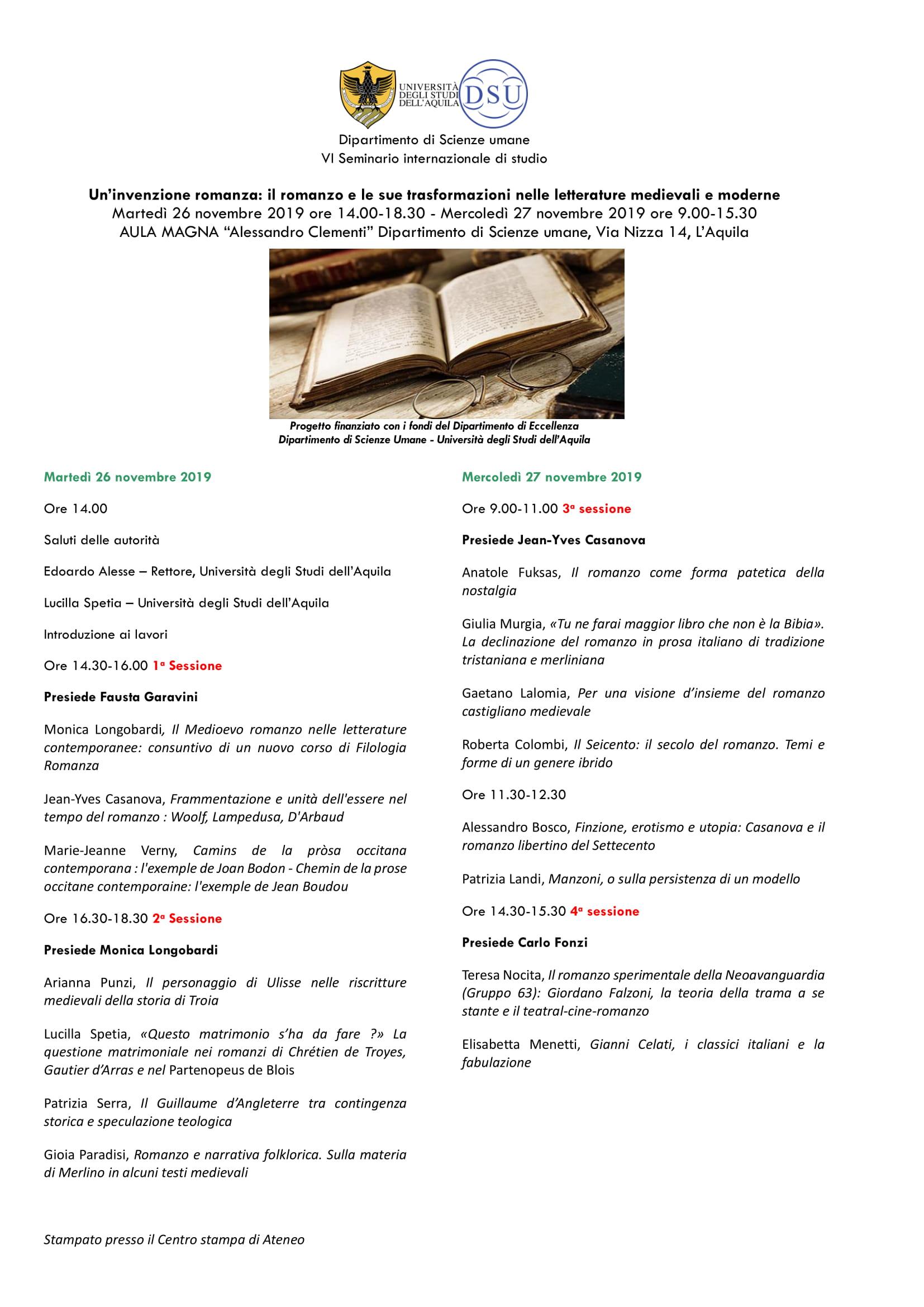 Seminario Un'invenzione romanza: il romanzo e le sue trasformazioni nelle letterature medievali e moderne