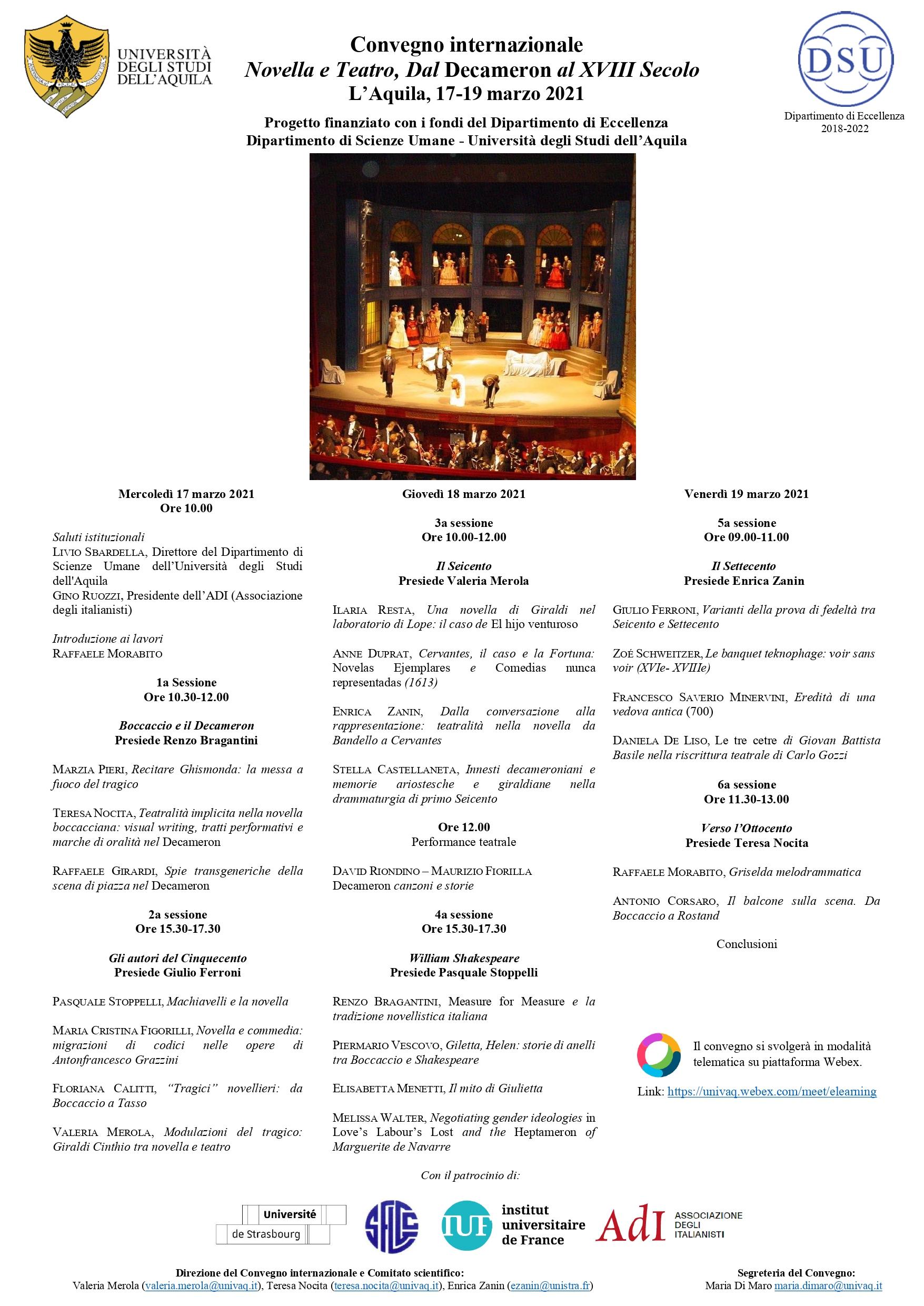 Convegno Novella e teatro: dal Decameron al XVII secolo